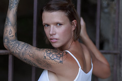 Coralie (Studio Hors-champ) Tags: portrait people fashion woman adult man pretty model sexy young skin tattoo bars one athlete tatoo strength exercise indoors fitness brawny