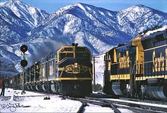 ATSF 5923 - Summit, Cajon Pass CA - 12/30/74 (RockAndRail) Tags: santafe atsf f45 summit cajonpass ca california u36c snow freight meet train locomotive railroad