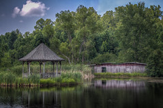 Gazebo & Barn (donnieking1811) Tags: tennessee cookeville building barn gazebo pond outdoors trees water sky clouds hdr canon 60d lightroom photomatixpro