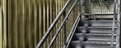 Stairs & Steel (evanffitzer) Tags: steel fujix100s fujifilmx100s diagonal containerpark lasvegas rust railing steps evanfitzer evanffitzer photography photographer nik shapes edges mesh gray