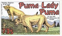 Runnin Bare #0657: Puma & Lady Puma - New Westminster, British Columbia (73sand88s by Cardboard America) Tags: qsl cbradio cb vintage runninbare qslcard puma britishcolumbia
