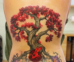 Red Leaf Cherry Tree Blossom Realistic Wicca Spiral Magic 3D Bonsai Back Tattoo by Jackie Rabbit (Jackie rabbit Tattoos) Tags: jackierabbit northerncalifornia tattoo tat star eyeofjade chico paradisecalifornia ca california realistic colorful 3d good best artist nude beautiful sleeve sexy vintage skull flower color feather infinity anchor heart dog bird tattoos inkmaster bestink norcal ribtattoo piece pintrest tree sunflower locket compass compassrose besttattooartist besttattooartistinchico besttattooartistincalifornia westcoast trashpolka polkatrash nature wildlife portraittattoo evil dark scary realisticskulltattoo horrortattoo monstertattoo bestin besttattoo