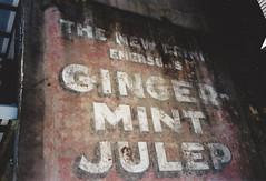 Roll Film Week Day 2 - Ginger Mint Julep (dreamscapesxx) Tags: olympusxa1 fujisuperia400film 35mm pointandshoot analog rollfilm roadtrip oldwall advertisement neworleansla