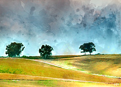 Mainly On The Plain (sbox) Tags: watercolor watercolour digital spain horizon splatters trees declanod sbox painting painterly