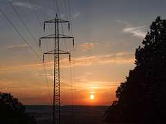Energetic sunset (Petr Horak) Tags: sun olympus penf landscape sunset bohemia tower twilight countryside sky czechia forest europe industrial nightfall slapy středočeskýkraj cze