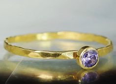 **Free Domestic Ship (alaridesign) Tags: free domestic shipping for all orders over 50 use coupon code shipfree50 dainty cz amethyst natural solid 14k gold ring aprils mothersbirthstone handmade etsy alari