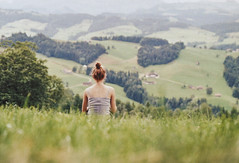 what matters (Gill'i) Tags: summer outdoor nature mountains green girl red hair ginger woods explore adventure solitude switzerland appenzellerland canon ae1 50mm messyhair messybun