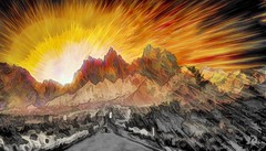 Sunrise over the Mountain Road (Rusty Russ) Tags: arizona mountain sunrise road colorful day digital graffiti window flickr country bright happy colour eos scenic america world sunset beach water sky red nature blue white tree green art light sun cloud park landscape summer city yellow people old new photoshop google bing yahoo stumbleupon getty national geographic creative composite manipulation hue pinterest blog twitter comons wiki pixel artistic topaz filter on1
