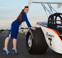 Holly_5167 (Fast an' Bulbous) Tags: girl woman pinup model altered supercharged stilettos stocking blue wiggle dress velvet dragster