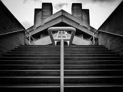 Down On The Upside (Douguerreotype) Tags: monochrome buildings diagonal lines city bw uk geometry british england mono blackandwhite stairs architecture britain gb geometric london symmetry urban steps