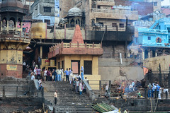 Burning ghat on riverbank in Varanasi, India (phuong.sg@gmail.com) Tags: ancient architecture art bank building burn burning ceremony cleanliness color colorful cremation day dead dirty early exterior ganga ghat hindu hinduism holy india indian life local man morning old outdoor outside people place prayer religion ritual river riverbank sacred smoke stair step tourism tourist typical varanasi wash water whisper wood wooden