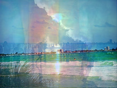 As Time Goes By (soniaadammurray - Off) Tags: digitalphotography manipulated experimental abstract time passed present nature sea sky clouds people land beach dream architecture years work play men women children live collage