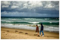 Storm Walk (Explored) (TOXTETH L8) Tags: storm gariebeach royalnationpark beach sand seaweedpacificocean seawater walkers cloud storms rain wind
