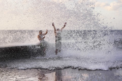 Joy (I saw_that) Tags: surf spray sea sky summer fun play tourists youth kids joy evening malecon havana cuba ocean wave seafood cool nature water young men man
