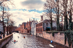 City Sport (IRRphotography) Tags: bruges belgium canal water kayak bridge architecture europe cloudy clouds sky canon 70d eos wideangle