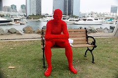 2016-Lego Red Man Statue by the Bay Outside SDCC-01 (David Cummings62) Tags: sandiego ca calif california comiccon con david dave cummings outside 2016 lego statue bay art