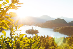Lake Bled_ (Jan Malkovsky) Tags: castle bled brush church flare forest freshwater lake lakebled landscape nature river shadows slovenia sunrise trees water yellow