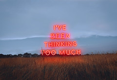 i've been thinking too much (lauren zaknoun) Tags: surreal surrealphotography conceptual conceptualphotography neon neonlight twentyonepilots ride field sky clouds blue red gold summer typography textart light lights art 100photos photomanipulation photography laurenzaknoun newengland digital sun landscape glow yellow