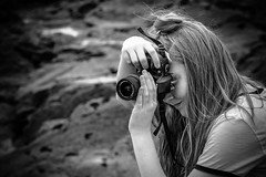 Say Cheese (_John Hikins) Tags: black bw blackwhite blackandwhite cliff rocks cornwall lands end landsend sigma nikon nikkor 150600mm 150600c 150600 1855mm 18 d5500 d3300 monochrome girl daughter