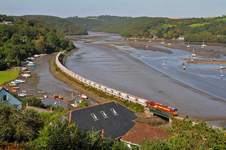 My favourite location - 66156  passes through Golant on its way to Fowey Dock in September 2012