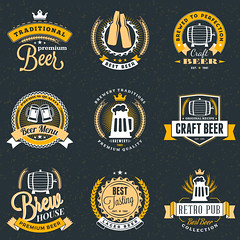 Set of Retro Vintage Beer Badges, Labels, Logos on Dark Background. Vector Illustration (manjil280) Tags: set beverage drink sign brewery beer logo emblem advertisement banner vintage typography october retro stamp announcement original pub illustration oktoberfest celebration octoberfest jar design quality star old premium isolated foam wood shop german vector market barrel black classic bar label alcohol badge text lager wheat mug insignia food bread