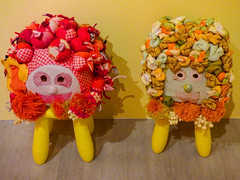 Sheep Stools (Steve Taylor (Photography)) Tags: sheep stool pompoms twists apple ties face animal mammal art green yellow red pink fabric asia city singapore shape pattern