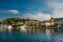 Early morning in Skradin (Wolfhowl) Tags: landscape sibenik church sailing dawn sky buildings cityscape croatia summer 2017 sea pier trees adriatic adventure june yachting river reflection light travel architecture marina skradin europe boats yacht