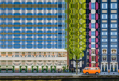 The Little Dutch Bus - Amsterdam (ShanePix) Tags: amsterdam netherlands bus buildings canals water orange abstract architecture crazygeniuses