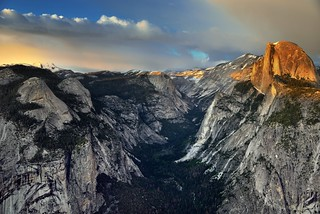 Sunlight Caught on the Face of Half Dome (Yosemite National Park)