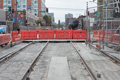 170607_1115_4thStSTS (Central Subway) Tags: 4thstreet bryantstreet ca california centralsubway hotelutah muni sf sfmta sts sanfrancisco sanfranciscomunicipalrailway sanfranciscomunicipaltransportationagency soma tthirdline construction extension invert lightrail phase2 rails ramp secondphase southofmarket surfacetrackwork trackbed tracks transitionslab tunnelportal