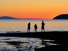 Beach Trio (otterdrivernw) Tags: xf18135 fujixt2 fujifilmxt2 fujifilm fuji mountainsunset mountains mountain upperleftusa salishsea pugetsound sunset sunsets beachcombers beach picnicpoint