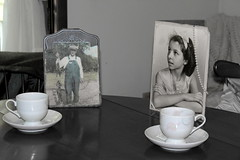 Forever (CJ_Christine) Tags: old people forever past memories tea coffee cuppa photos photo black white grey date meeting love romantic romance teacup cups youth young morning grandmother grandfather grandma grandpa remembrance remember couple married angels daily diadelosmuertos spiritual company conversation lovers talk 1940s 1930s