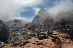 Grab those hiking boots! (Thankful!) Tags: zion zionnationalpark eastside zioncanyonoverlook spring summer snow mist fog trail