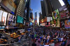 Times Square Fisheye (Brandon Godfrey) Tags: newyorkcity timessquare fisheye billboard colorful colourful nyc bigapple newyork usa unitedstates unitedstatesofamerica people urban city midtown cab taxi nyctaxi touristattraction