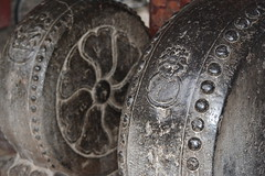 CENTURIES OF WEAR ON THESE CARVED GRANITE WHEELS USED AS BANISTERS AT THE ENTRANCE OF THE GREAT MOSQUE, XI'AM, CHINA., (vermillion$baby) Tags: greatmosque xiam great mosque ancient banister carved china door round sphere stairpath xian grandmosque old spring xiansgreatmosque