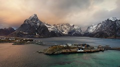 Arctic Oasis (Andrew G Robertson) Tags: lofoten islands norway reine hamnoy mountain cloud turquoise canon5dmkiv mkiv mk4 canon 5d norge