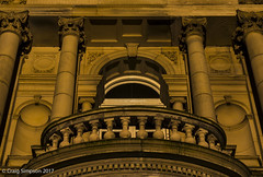 Balcony of Town Hall, Burnley. 4th July 2017. (craigdouglassimpson) Tags: architecture buildings nightscene balcony townhall manchesterroad burnley lancashire england