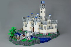 Minas Morgul: Heroic Rendition (jsnyder002) Tags: lego lotr minas morgul reboot reimagining heroic landscape fortress tower wall gatehouse round technique snot design method curved battlements tree crenelation rockwork river bridge flag banner