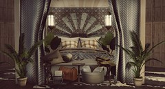 """Tuck away into a safari adventure...""- Client work - Mysterious Paradise - Interior Setup - Bedroom Suite - Morocco Safari (Jack Hanby - Grandeur decor) Tags: mysterious paradise love passion building decor decorating build safari home rental system second life plants palms leather rug cabana"