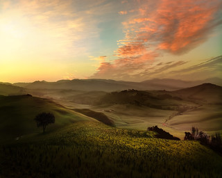 The Tuscan countryside at sunrise