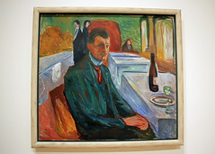 Self-Portrait with a Bottle of Wine, by Edvard Munch (JB by the Sea) Tags: sanfrancisco california july2017 urban financialdistrict sanfranciscomuseumofmodernart sfmoma painting edvardmunch expressionist expressionism