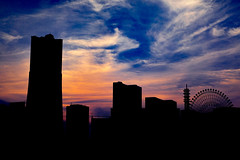 DSC04236 (higeu) Tags: 日本 横浜 みなとみらい 空 夕方 夕焼け 観覧車 影 japan yokohama minatomirai sky sunset silhouette
