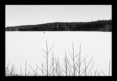 Finland (march '17) (Pietro Bevilacqua) Tags: finland landscape blackandwhite filmisnotdead believeinfilm homedevelop analogue ilford fp4 id11 pentax k1000 35mm monochrome finnish trip minimal lake frozen snow wood trees little man fisherman