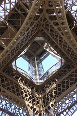looking up at the Eiffel Tower (Muddy LaBoue) Tags: iledefrance monuments towers iconicarchitecture 1889 2017 july worldexposition eiffeltower paris france attractions tourism panasoniclumixdmctz60 summer tower architecture