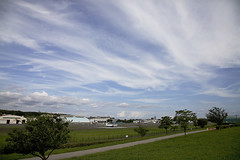 A SMALL AIRPORT, SOME PARKS AND CLOUDS - CIII (Jussi Salmiakkinen (JUNJI SUDA)) Tags: chofu tokyo japan cityscape park airport sky aircraft wood airplane landscape tama 調布 飛行場 空港 林 森 空 武蔵野 多摩 東京 日本 風景 航空 july clouds summer