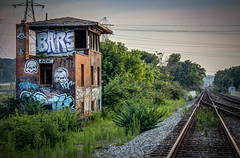 Art Along the Tracks (donnieking1811) Tags: ohio cincinnati art streetart graffiti tracks railroadtracks building abandoned outdoors sky hdr canon 60d lightroom photomatixpro