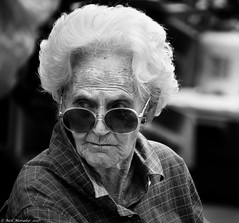 Of course I would. (Neil. Moralee) Tags: neilmoralee old older mature woman lady female face portrait candid black white bw bandw blackandwhite mono monochrome nikon d7200 teignmouth devon uk pensioner illicit prood proodish fantasy shades gray grey fifty brits british glasses hair stare neil moralee willing street people