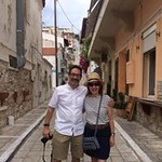 Dr. Hicok and Dr. Goldberg exploring the streets of Athens together.