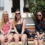 Honors students Jensine Coudriet, Sammi Winter, and Hanna Cao pose together at the Athens Centre.