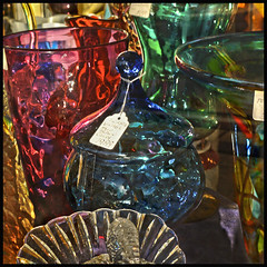 Shop Window #12 2017; Mass of Glass (hamsiksa) Tags: windows storefronts shopwindows color reflections stilllife found glass antiques junk chochtkes florida deland mainstreet retail stores selling buying